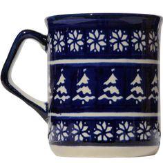 Dark blue mug by Polish pottery