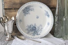 Antique French Shabby Flow Blue Serving Bowl - Blue Floral Transferware - by Sarreguemines - circa 1860's.