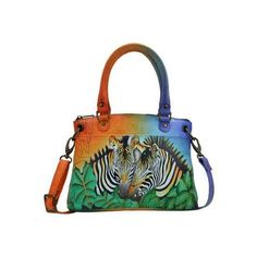 Women's ANNA by Anuschka Hand Painted Leather Small Satchel 8252 -... (£130) ❤ liked on Polyvore featuring bags, handbags, genuine leather handbags, zip purse, zebra handbag, leather satchel and anuschka purses