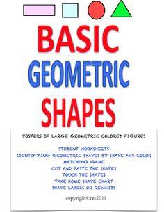Basic geometric shapes packet for K - 2. FREE!