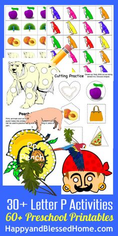 """30+ FREE Preschool Activities with 50+ FREE Printables for Learning to Read Letter """"P"""" from www.HappyandBlessedHome.com #FREEPrintables #PreschoolActivities  