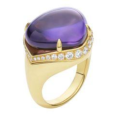 Bulgari 18kt Yellow Gold Ring With Large Amethyst  And Pave Diamonds  Bulgari Mediterranean Eden - Sassi Collection