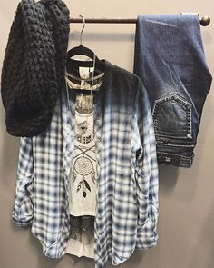 Get this look ---> Ombré flannel |$66| Dream catcher graphic tank |$26| Lace layering tank |$40| Miss me pic stitch |$99.50| Popcorn knit infinity scarf |$20|Find these pieces available at HT.  WE SHIP :: call to place an order 360.716.2982 #shophoitytoity