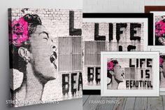 #LifeIsBeautiful is a quality print of the original graffiti by the famous UK street artist, #Banksy. #CanvasPrints #AustraliaPrints #CanvasPrintsArt #canvasprintsaustralia #BanksyLifeIsBeautiful #LifeIsBeautifulPrint #LifeIsBeautifulArt #BlueHorizonPrints #graffiti Canvas Prints Australia, Banksy Work, Banksy Canvas Prints, Framed Art, Framed Prints, Street Artists, Stretched Canvas Prints, Life Is Beautiful, Graffiti