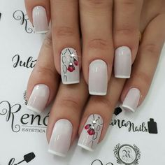 White iced thin french nails with rhinestone and floral nail art. Fancy Nails, Trendy Nails, Pink Nails, Nail Manicure, Toe Nails, Nagel Hacks, Nails Design With Rhinestones, Elegant Nails, Flower Nails
