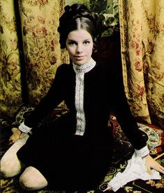 December 1967.  For moments this joyful, a joyfully Victorian dress: black and white, marvelously mixed of rayon velvet and moire shadows.