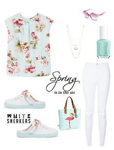 """""""Spring time"""" by im-karla-with-a-k ❤ liked on Polyvore featuring MANGO, Sophia Webster, New Look, Betsey Johnson, Robert Rose, Essie and Moschino"""