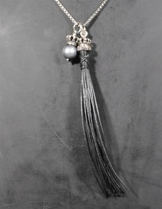 The South Sea Pearl, Crown & Leather Tassle Necklace w/ Champagne Diamonds by Lazaro
