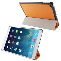 For+iPad+Air+Orange+3-folding+Cross+Texture+Leather+Case+with+Holder+&+Sleep+/+Wake-up+Function