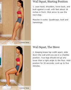 Wall Squat - Quadriceps, butt and hamstrings