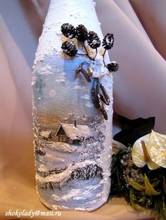 snow frosted bottle I'm thinking I'm not talented enough to paint this, but could put a Thomas Kincaid pic still do the snow! Glass Bottle Crafts, Wine Bottle Art, Painted Wine Bottles, Hand Painted Wine Glasses, Lighted Wine Bottles, Christmas Decoupage, Christmas Crafts, Christmas Wine Bottles, Deco Originale