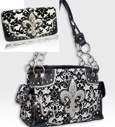 Western Fleur De Lis Damask Pattern Purse Black Trim W Matching Wallet