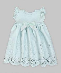 Loving this Pale Aqua Eyelet Ruffle Bow Angel-Sleeve Dress - Infant on #zulily! #zulilyfinds