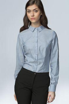 Nife K43 Klasyczna taliowana koszula - błekitny