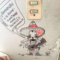 #Draw #Mexican #Skull #Funny #OldSchool #Mariachi #Wall by bibyraspberry