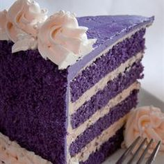 Ube-Macapuno (Purple Yam-Coconut) Cake | a Filipino cake with added blue and red food coloring. Ube is pronounced OOH-bee. A macapuno is a larger coconut with softer flesh.