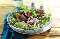 This salad comes together in a flash. Use eight fresh figs, quartered, when they're in season instead of the dried. If you don't like blue cheese, substitute the same amount of ch?vre or Brie. This recipe makes more dressing than you need, so refrigerate about half in an airtight container to use within the following five days.?