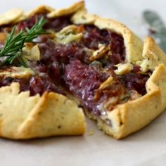 A delicious, rustic, free-form tart of balsamic red onions and creamy gorgonzola.