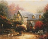 "Thomas Kinkade:  The most widely collected artist in the U.S. and known as ""The Painter of Light.""  expertly using the Luminist technique of the late 19th century American painters. Radiating light, inviting viewers to bask in the nostalgia of earlier, less stressful times and smokey chimneys, representing the warmth and family love. His devotion to his family is shown in his work with ""love notes"" by hiding the letter ""N"" in all his paintings as a tribute to his and wife Nanette. DNA Matrix"