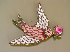 Oiseau avec Rose - Rivières Rah
