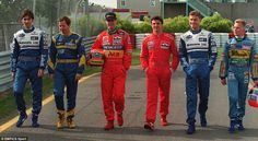 Post with 882 views. Hill, Brundle, Irvine, Blundell, Coulthard and Herbert. Formula 1 Gp, Johnny Herbert, Gerhard Berger, Damon Hill, David Coulthard, F 1, Grand Prix, Peugeot, Race Cars