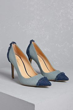 Forever 21 Daya by Zendaya Denim Stilettos. A pair of stone wash denim heels featuring a colorblocked design with a dark clean wash pointed toe and stiletto heel with frayed accents. Denim Pumps, Denim Boots, Stiletto Heels, High Heels, Stilettos, Travel Shoes, Vegan Shoes, Shop Forever, Forever 21