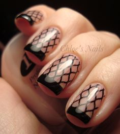 One more from Chole's nails, stamping with a black tip.