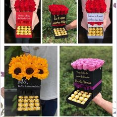 Surprise Box Gift, Valentines Surprise, Cute Valentines Day Gifts, Flower Box Gift, Flower Boxes, Chocolate Gifts, Chocolate Box, Candy Bouquet, Diy Bouquet