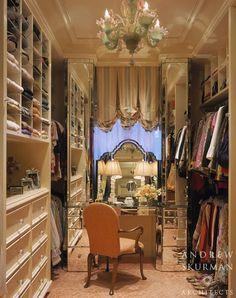 Really loving this jewel box of a dressing room and the glamorous fully mirrored unit by super talented Andrew Skurman