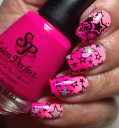 Colores de Carol: Salon Perfect - Tickled Pink and Plum Sorbet. Great Nails, Love Nails, Fun Nails, Nail Designs 2015, Colorful Nail Designs, Latest Nail Art, Girls Nails, Stamping Nail Art, Stylish Nails