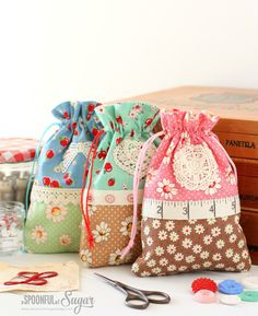 Follow our sewing tutorial to make you own Retro Drawstring Bags - perfectly sized to hold small gifts.