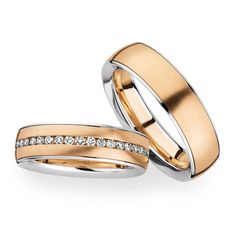 14 k dual color gold wedding rings sets