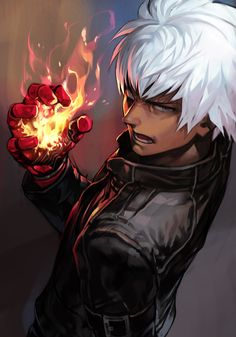 Safebooru - black jacket blue eyes dark skin dark skinned male fire gauntlets hand up hankuri jacket k' open mouth pyrokinesis short hair simple background solo the king of fighters the king of fighters xiv upper body v-shaped eyebrows white hair Mobile Legend Wallpaper, Hero Wallpaper, Fanart, Martial Arts Games, Game Character, Character Design, Snk King Of Fighters, K Dash, Moba Legends
