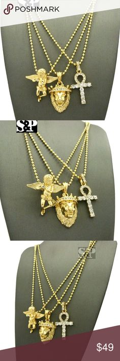"""Hip Hop Ankh Cross, Lion Head, Angel  necklace set Brand New   Hip Hop Celebrity Style Pendant & Chain   14K GOLD PLATED   SIZE: Angel: 1.2"""" x 1.25"""", Lion : 0.85"""" x 1.5"""", Ankh Cross: 0.75"""" x 1.6""""   CHAIN: 2mm 24"""" Ball Chain   CZ Stones on pendant   High Quality & Polished Accessories Jewelry"""