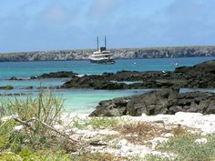 Quasar Expeditions' M/V Evolution at anchor on the island of Genovesa in the Galapagos