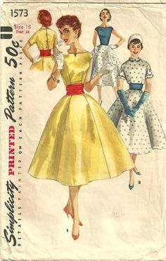 This is a vintage sewing pattern from Simplicity, designed in 1956. The pattern makes a dress with cropped jacket and cummerbund for Size 16: