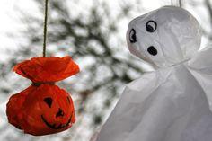 Pynt til Halloween i silkepapir