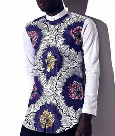 hommes Africains vê African Shirts For Men, African Attire For Men, African Men, African Inspired Fashion, African Print Fashion, Kitenge, Suit Fashion, Mens Fashion, Wedding Suit Styles