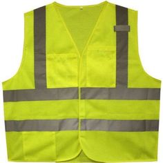 Cordova Flame-Resistant Class II High-Visibility Lime 2-Pocket Safety Vest, Size: Medium, Green