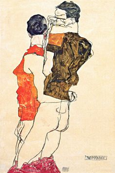 Egon Schiele Two Men, Currently in the Klimt/Schiele exhibition in London. Gouache, Gustav Klimt, Figure Painting, Painting & Drawing, Canvas Artwork, Canvas Prints, Figurative Kunst, Hippie Wallpaper, Queer Art