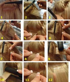 There are two methods used in the application of tape hair extensions one is the sandwich method and the other is the single method.  Sandwich Method (Lasts up to 8 weeks with proper Care & Application.) Re-apply with super tape after 8 weeks.