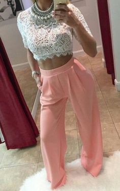 Just a pretty style | Latest fashion trends: Date night | White lace crop top and pastel pink high waisted trousers