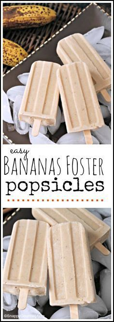 Bananas Foster Popsicles easy popsicle recipe for kids or adults! Banana Foster, Banana Popsicles, Homemade Popsicles, Frozen Yogurt Popsicles, Popsicle Recipe For Kids, Popsicle Recipes, Frozen Desserts, Frozen Treats, Ice Cream Treats