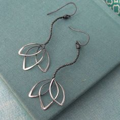 lotus wire earrings