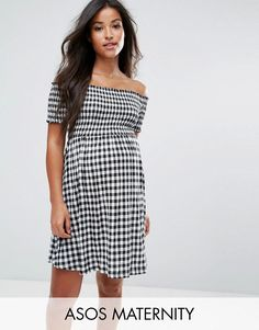 4649f6f6b7ff2 ASOS Maternity Off Shoulder Sundress with Shirring in Gingham - Multi.