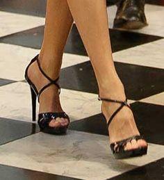 Magrit 'Marina' navy patent leather cross-strap platform sandals (bespoke)