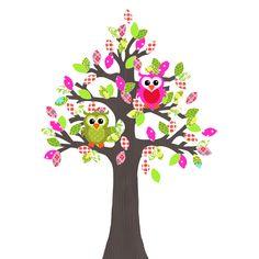 Een prachtige met de hand gemaakte behangboom met de kleuren groen en roze. Erbij twee uiltjes. Een super blikvanger in de kinderkamer.