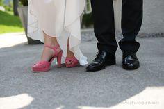 Hochzeit Brautschuhe Pumps Peeptoe in pink und Schuhe für den Bräutigam