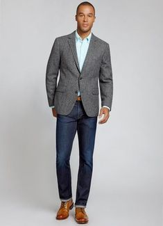 The Nottingham Blazer - Grey Herringbone | Bonobos Grey Herringbone Shetland Wool English Tweed Blazer - Bonobos Men's Clothes - Pants, Shirts and