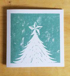 Christmas Tree Star Christmas Card Handprinted Linocut Square